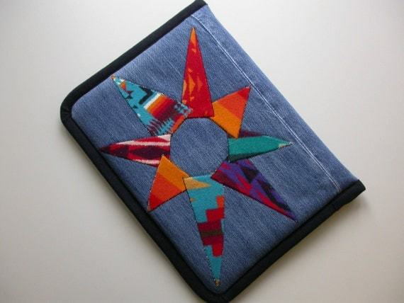 "Pendleton Wool embellished 13 "" Macbook Pro Laptop Cover - antler button or Velcro closure - ooak upcycled recycled denim jeans"