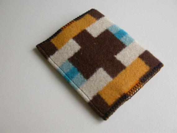 Southwestern Wallet - casual mens or womens - front or back pocket - card case - slim trendy hip wallet - handmade of Portland fabric