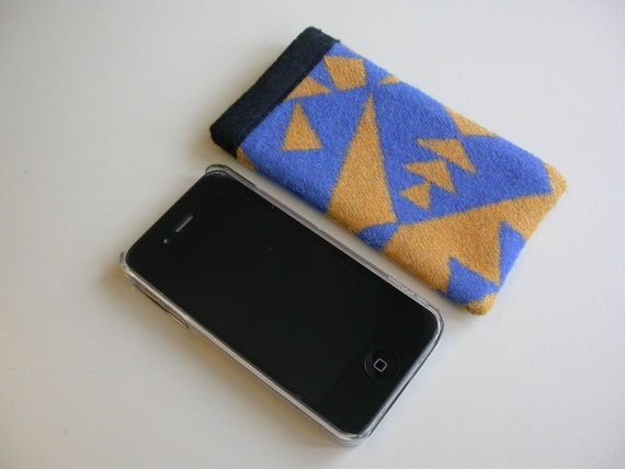 Simple wool iPhone sleeve cover case - 3 3gs 4 4s - Pendleton Wool Native American Print fabric - yellow and blue