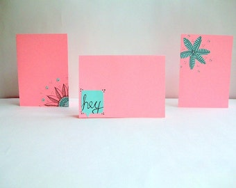 Hand Made Greeting Cards Pastel Pink and Mint Green -Set of 3- Envelopes included