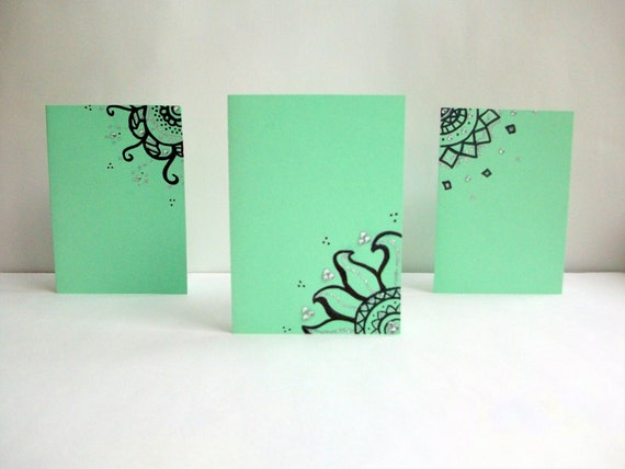 Sea Foam Green Hand Drawn Greeting Cards -Set of Two- Envelopes included