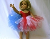4th of July American Flag Tutu and Leotard (Swimsuit) for American Girl, 18 Inch Dolls and Bitty Baby