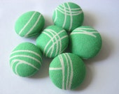 Set of 6 fabric covered buttons -- green with white lines -- 3/4 inch (size 30)