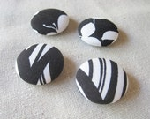 Fabric covered button magnets in black and white -- set of 4