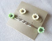 Earrings and bobby pins set -- green and yellow