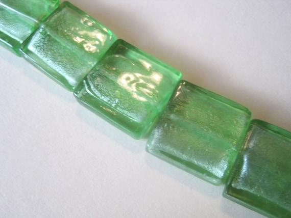 Bead destash: Peridot crystal foil -- 20mm square glass (5 beads)