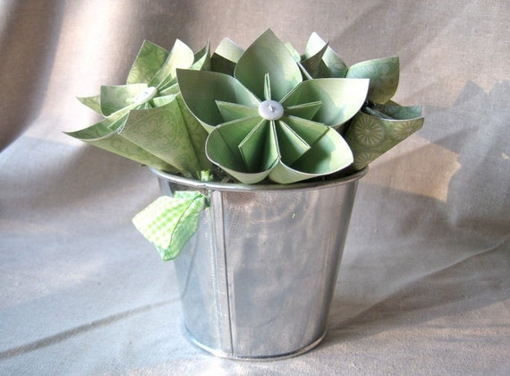 Paper flowers in silver pail for spring -- green origami flowers -- ready to ship