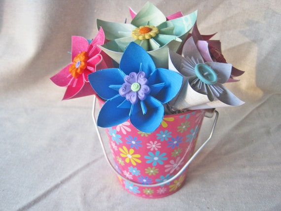 Paper flowers in flower pail for spring -- hot pink, blue and green origami flowers -- ready to ship