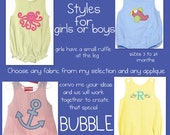 New Bubble Styles for Boys or girls/FREE SHIPPING in continental USA
