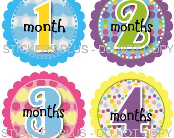 Baby Month Stickers Baby Girl Monthly Milestone Stickers Pastel Polka Dot Dots PRECUT Baby Stickers Baby Age Stickers Photo Prop Shower Gift