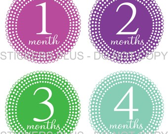 Baby Month Stickers Plus FREE Gift Girl Milestone Stickers Lots of Dots all Different Shower Gift PRECUT Baby Stickers Baby Age Stickers