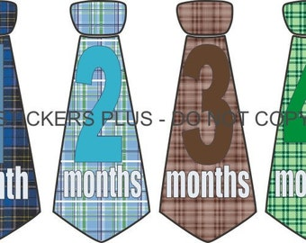 Baby Month Stickers Baby Boy Neck Tie Necktie Stickers Baby Age Stickers Blue Brown and Green Plaid Stripes  1-12 Months Shower Gift
