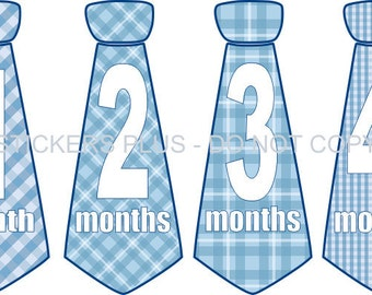 Monthly Baby Boy Neck Tie Necktie Stickers Milestone Stickers Blue Gingham Checks Plaids -  - Numbers 1 - 12 Months Baby Shower Gift