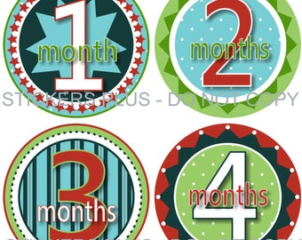 Monthly Baby Boy Milestone Stickers Baby Month Stickers Fun Boy I Green Blue Red Dots Stars PRECUT Baby Bodysuit Stickers Nursery Decor