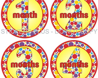 Baby Month Stickers Plus FREE Gift Monthly Baby Girl Stickers Colorful Rainbow Dots Shower Gift 1-12 Months Photo Prop Baby Age Stickers