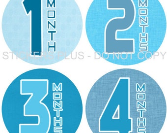 Monthly Baby Boy Stickers Plus FREE Gift Milestone PRECUT Bodysuit Stickers Baby Month Age Sticker Blue Big Numbers 1-12 Months Photo