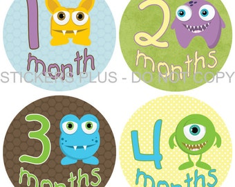 Baby Month Stickers Monthly Baby Milestone Stickers PRECUT Bodysuit Monthly Stickers Plus FREE Gift Boy Monsters Blue Brown Green Yellow