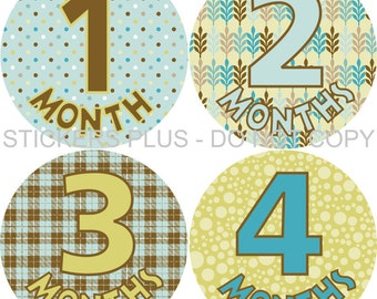 Baby Month Stickers Monthly Baby Stickers Milestone Stickers Baby Bodysuit Stickers Monthly Stickers Boy Blue Brown Yellow All Different