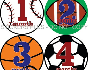 Baby Boy Monthly Stickers Baby Month Stickers PRECUT Bodysuit Stickers Monthly Stickers Plus FREE Gift Boy Sports Ball 1-12 13-24 m