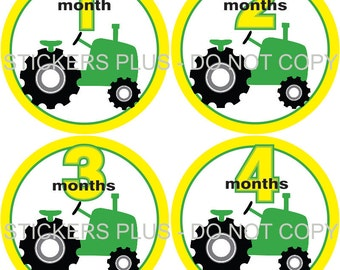 Baby Month Stickers Monthly Baby Stickers Milestone Stickers Baby Bodysuit Stickers Monthly Stickers Plus FREE Gift Boy Farm Tractor Green