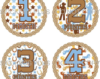 Baby Month Stickers Monthly Baby Stickers Milestone Stickers Baby Bodysuit Stickers Monthly Stickers Plus FREE Gift Boy Western Cowboy
