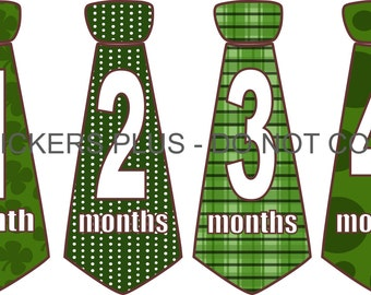 Monthly Baby Stickers Baby Boy Neck Tie Necktie Milestone Stickers Irish Plaid Dots Shamrocks Green -  1-12 Months Shower Gift
