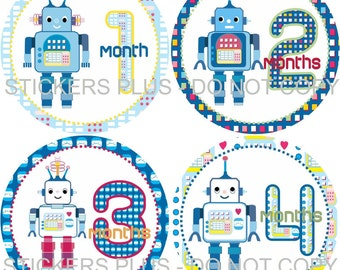 Monthly Baby Boy Milestone Stickers Baby Month Stickers Robot Robots Baby Bodysuit Stickers Baby Age Stickers Nursery Decor Baby Shower Gift