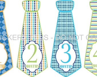 Monthly Baby Stickers Baby Boy Neck Tie Necktie Stickers Baby Month Stickers Fancy Blues Greens Argyle Dots Plaid Stripes 1-12 Month