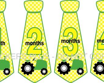 Monthly Baby Stickers Baby Boy Tie Necktie Neck Tie Stickers Farm Tractor Yellow Green 1-12 Months Milestone Shower Gift Photo Prop