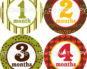 Monthly Baby Boy Milestone Stickers PRECUT Bodysuit Precut Baby Month Stickers Plus FREE Gift Green Brown Yellow Orange Red Stripes Dots