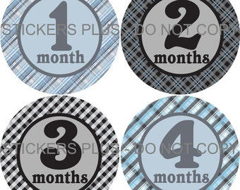 Baby Boy Month Milestone Stickers Monthly Baby Stickers Blue Gray Black Plaid Gingham Bodysuit PRECUT Stickers Photo Prop Shower Gift