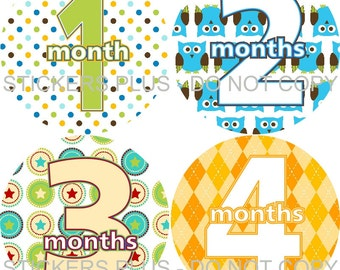 Baby Boy Month Stickers Monthly Milestone Stickers Plus FREE Gift All Different Dots Owls Argyle Boats Stars Kites Dinosaurs 1-12 months