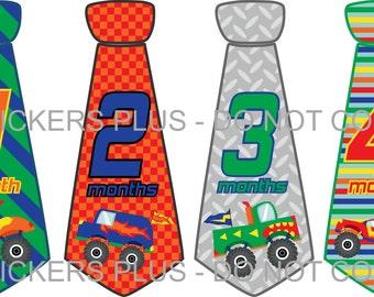 Baby Boy Monthly Tie Stickers Necktie Neck Tie Stickers Baby Age Stickers Colorful Monster Trucks  1-12 m Photo Bodysuit Age Stickers