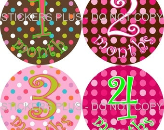 Baby Month Stickers Plus FREE Gift Girl Dots Curlz Baby Shower Gift PRECUT Bodysuit Stickers Monthly Baby Age Stickers Photo Prop