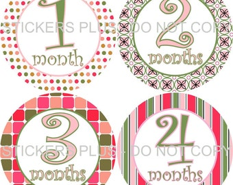 Monthly Baby Girl Age Stickers  Pink Green Curlz Flower Dots Shower  PRECUT Baby Stickers Monthly Baby Milestones