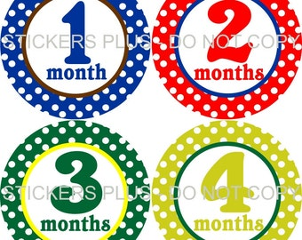 Monthly Baby Boy Milestone Stickers PRECUT Bodysuit Precut Baby Month Growth Stickers Plus FREE Gift Dots all Different Baby Shower Gift