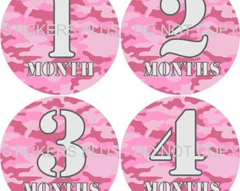 Baby Month Stickers Plus FREE Gift Girl Monthly Milestone Stickers Pink Camo Camoflauge Army Font 1-12 Months PRECUT Baby Age Stickers