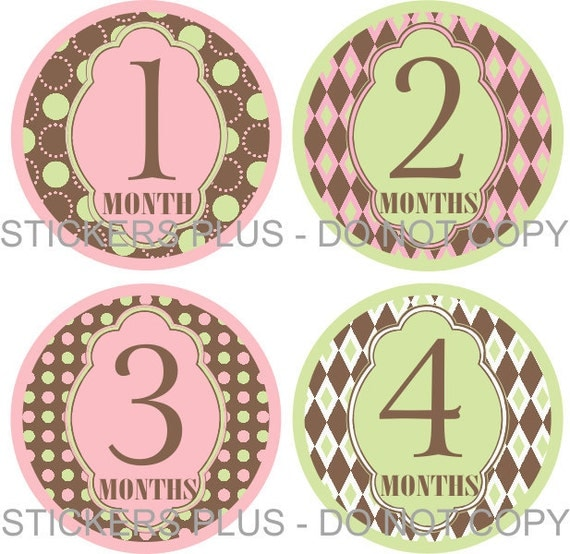 Baby Month Stickers Plus FREE Gift Girl Circles Mod Green Pink Brown Dots Diamonds 1-12 or 13-24 Months Photo Prop Baby Age Stickers
