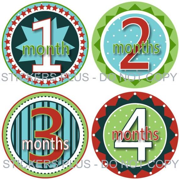Monthly Baby Boy Milestone Stickers Baby Month Stickers Fun Boy I Green Blue Red Dots Stars PRECUT Baby Bodysuit Stickers Nursery Decor