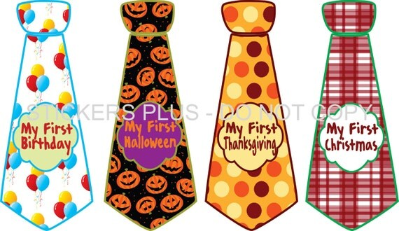 First Birthday Holidays Baby Boy Tie Stickers Necktie Neck Ties  Christmas 1st Birthday Halloween Easter Thanksgiving and More