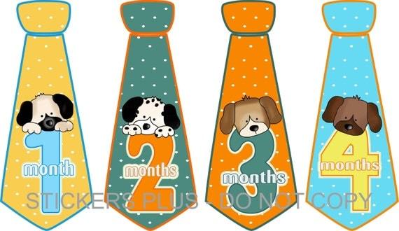 Baby Month Stickers Baby Boy Monthly Neck Tie Necktie Stickers Baby Age Stickers Puppy Dog Faces Blue Green Yellow Orange Dots 1-12 m