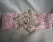Vintage Inspired Pearl and Rhinestone Beaded Floral design. Beautiful Stretch Lace Bridal Garter Set,