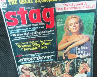 Vintage March 1972 Stag Magazine America's top newsstand selling adventure magazine Africa Speedway Heist Erotic Model Escape from 40 Fathom