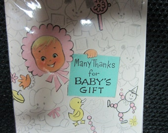 Vintage American Greetings Many Thanks For Baby's Gift 12 folders with envelopes 59 cents kitschy cute