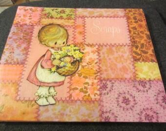 Vintage 1971 Hallmark Scraps Scrapbook album with Big Eyed Girl with Flowers kitschy cute photo saver