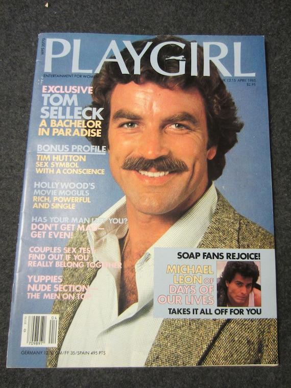 PLAYGIRL April 1985 Tom Selleck Magnum PI TV Show soap hunk Dool star MichaeI Leon nude Mark Monty Timothy Hutton