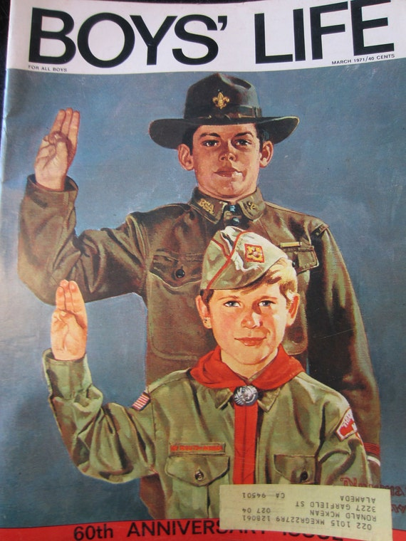 Vintage BOYS LIFE Magazine March 1971 Norman Rockwell, Willie Mays, Boy Scouts in Action, 60th Anniversary, Advertisements, BSA