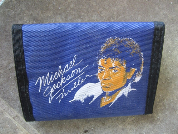 Vintage 1980s Michael Jackson's THRILLER Velcro Wallet Blue Unused MJ Billie Jean Record kitschy