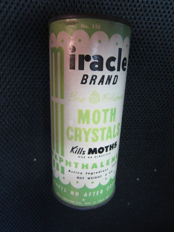 Vintage Miracle Brand Moth Crystals Metal Pine Perfumed 6 oz container Company Napthalene leaves no after odor mid century mod kitsch
