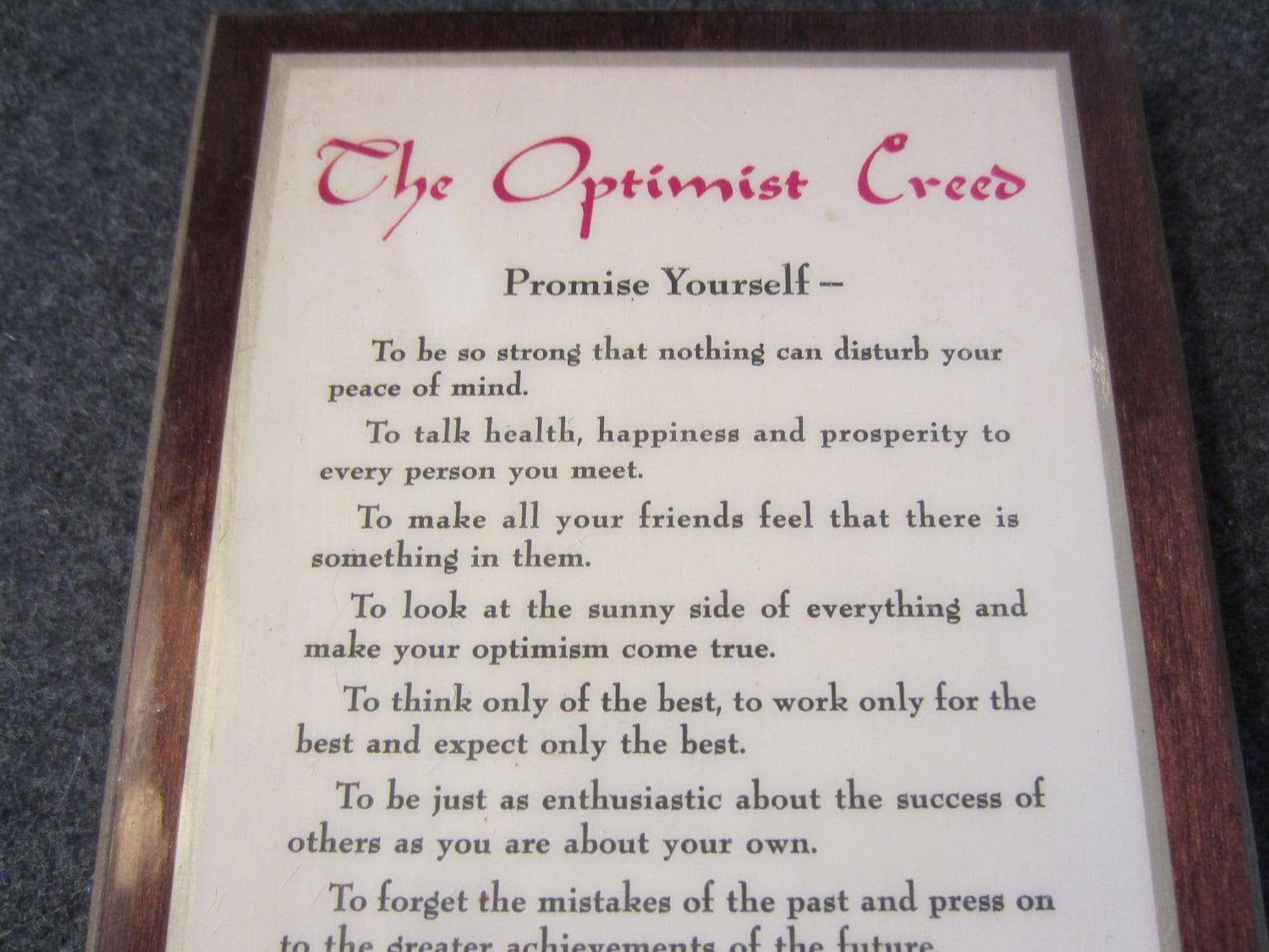 The Optimist Creed Motto Wooden Hanging Or Stand Up Plaque